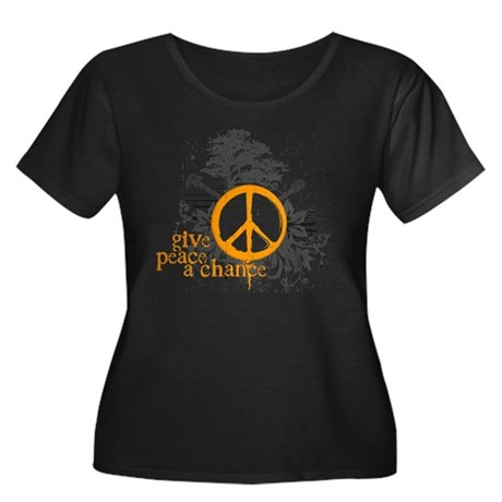 Give Peace Scene - Orange Women's Plus Size Scoop