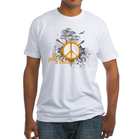 Give Peace Scene - Orange Fitted T-Shirt