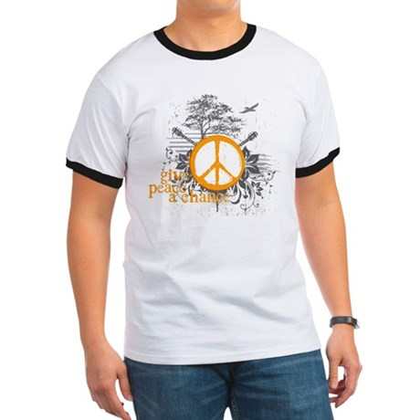 Give Peace Scene - Orange Ringer T