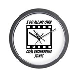 Civil Engineering Stunts Wall Clock