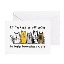 Feral Cats, Village Greeting Cards (Pk of 20)