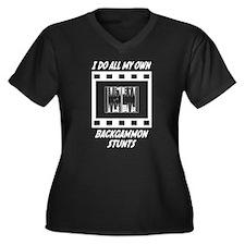 Backgammon Stunts Women's Plus Size V-Neck Dark T-