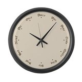 Quaint French Numbers and Stars Large Wall Clock