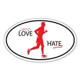 Men's Love Hate Running Oval Decal