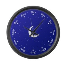 Stars & Moon Spanish Numbers Large Wall Clock