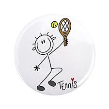 "Stick Figure Tennis 3.5"" Button"