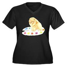 Pom Palette Women's Plus Size V-Neck Dark T-Shirt