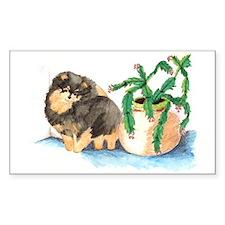 Pom Blk & Tan w/Cactus Rectangle Sticker 50 pk)