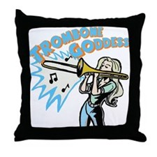 Trombone Goddess Throw Pillow