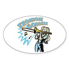 Trombone Goddess Oval Decal