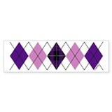 Purple Plaid Argyle Bumper Bumper Sticker