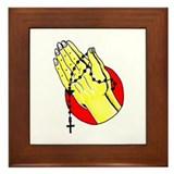 Praying Hands Tattoo Art Framed Tile