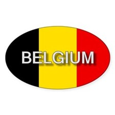 Belgium Flag with Label Oval Sticker (10 pk)