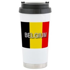 Belgium Flag with Label Ceramic Travel Mug