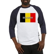 Belgium Flag with Label Baseball Jersey