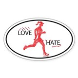 Women's Love Hate Running Oval Decal