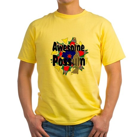 Awesome Possum Kaleidoscope Yellow T-Shirt