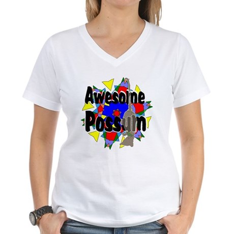 Awesome Possum Kaleidoscope Women's V-Neck T-Shirt