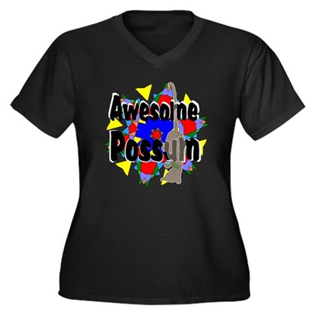 Awesome Possum Kaleidoscope Women's Plus Size V-Ne