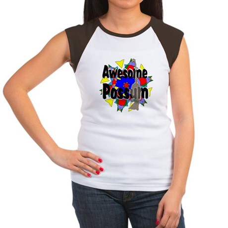 Awesome Possum Kaleidoscope Women's Cap Sleeve T-S