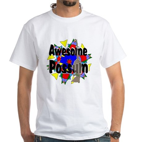 Awesome Possum Kaleidoscope White T-Shirt