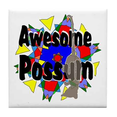 Awesome Possum Kaleidoscope Tile Coaster
