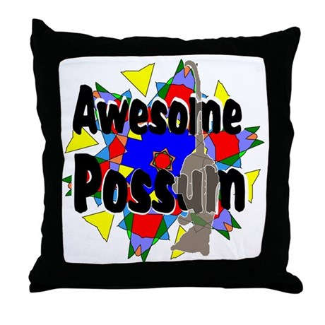 Awesome Possum Kaleidoscope Throw Pillow