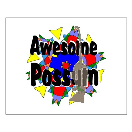 Awesome Possum Kaleidoscope Small Poster