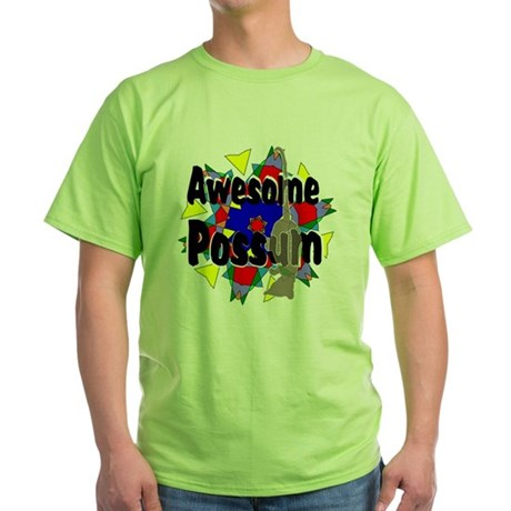 Awesome Possum Kaleidoscope Green T-Shirt