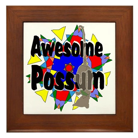 Awesome Possum Kaleidoscope Framed Tile