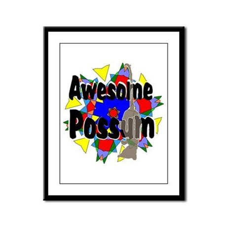 Awesome Possum Kaleidoscope Framed Panel Print