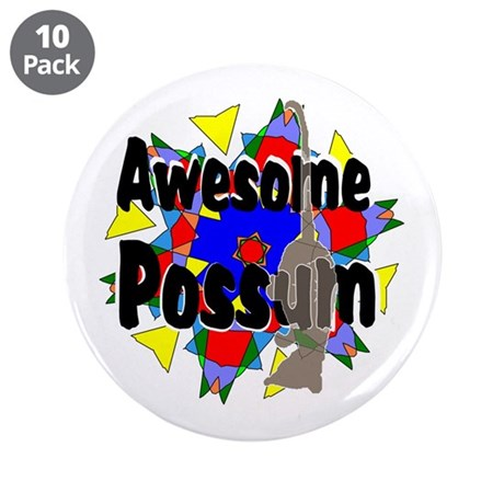 "Awesome Possum Kaleidoscope 3.5"" Button (10 pack)"