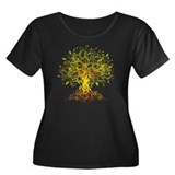 abstract tree Women's Plus Size Scoop Neck Dark T-