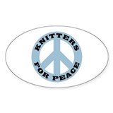 Knitters For Peace Oval Sticker (50 pk)