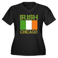 Chicago Irish Flag Women's Plus Size V-Neck Dark T