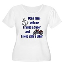 Raised a Sailor sleep with a Biker T-Shirt