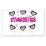 Gymnastics Glitter Hearts Rectangle Decal