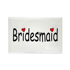 Bridesmaid (RD HRT) Rectangle Magnet (100 pack)