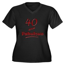 40 and Fabulous Women's Plus Size V-Neck Dark T-Sh