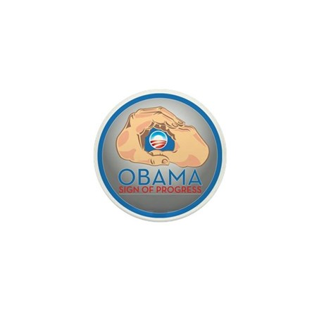Obama Sign of Progress Mini Button