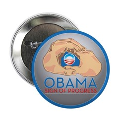 "Obama Sign of Progress 2.25"" Button (100 pack"