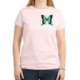 Green Butterfly Women's Pink T-Shirt