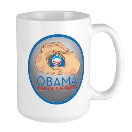 Obama Sign of Progress Large Mug
