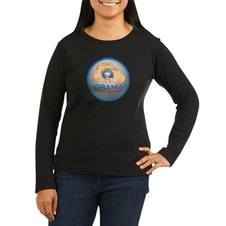Obama Sign of Progress Women's Long Sleeve Dark T-