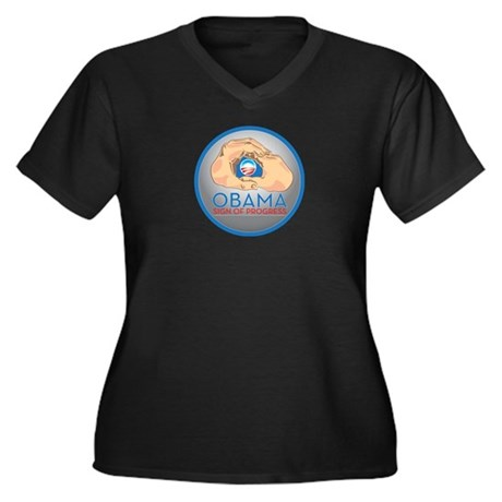 Obama Sign of Progress Women's Plus Size V-Neck Da