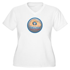 Obama Sign of Progress Women's Plus Size V-Neck T-