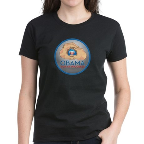 Obama Sign of Progress Women's Dark T-Shirt