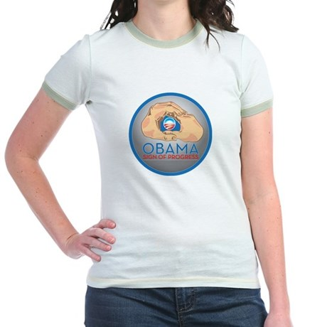 Obama Sign of Progress Jr. Ringer T-Shirt