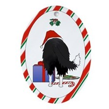 Border Collie Christmas Oval Ornament