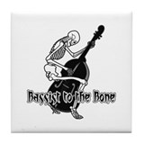 Black Skeleton Bassist Tile Coaster